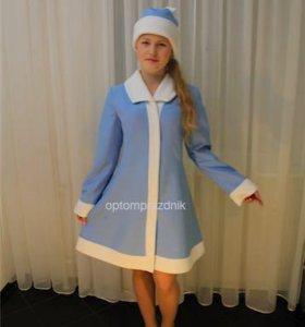 Новогодний костюм Снегурочки голубой.