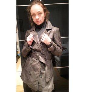 Кожаный тренч- куртка