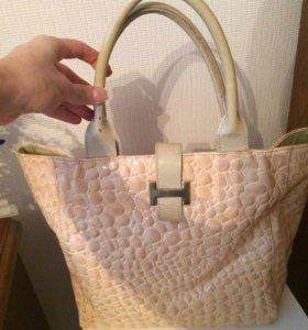 Лаковая сумка бежевая Hermes