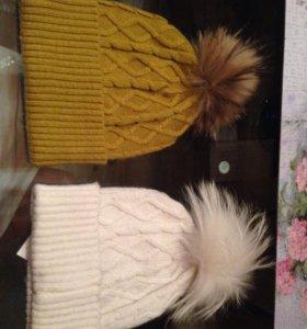 Новые шапки с помпоном из натурального меха