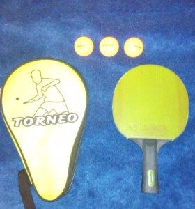 """Ракетка для тенниса """"torneo"""", чехол ,3мяча 1звезда"""