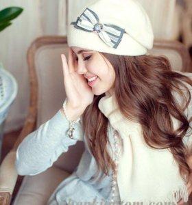 Новый комплект шапка+шарф  зима