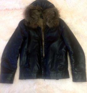 Мужская Куртка(размер 46)нат.мех и наи.кожа