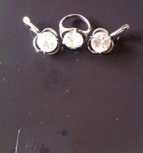 набор: серьги и кольцо, серебро и натур камень