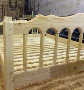 Кровать из массива ручной работы 1400мм