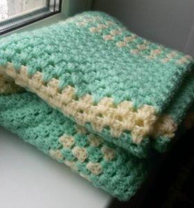 Плед коврик ручной работы вязаный