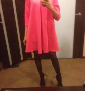 Платье бэби долл,розовое свободное и беременным