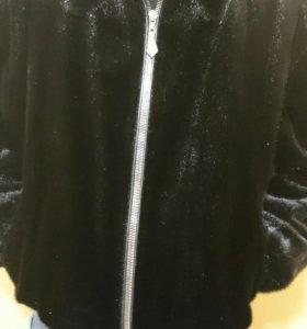Норковая куртка с вставками кожи
