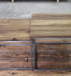 Журнальный стол в стиле Loft из дуба