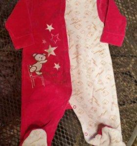 Теплые ползунки слипы 3 шт и курточка на малышку