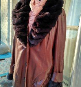 Куртка кожаная с шиншиллой р 52