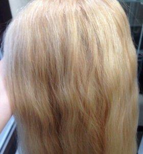 Натуральные волосы на кератиновой капсуле.