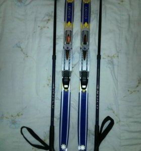 Лыжи детские 90 см с телескопическими палками
