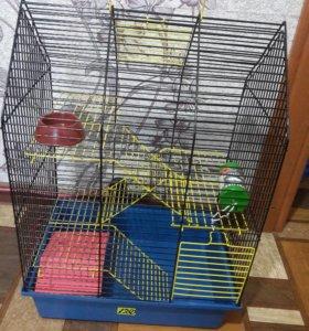 Клетка для грызунов, +поилка, миска и домик