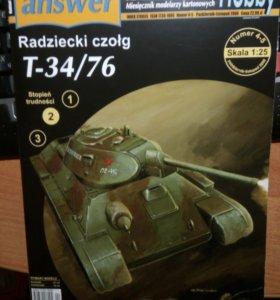 Модель танка из картона Ansewer T-34/76 1:25