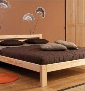 Двухспальные кровати из массива сосны