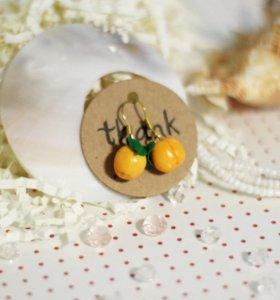 Серьги персики ручной работы