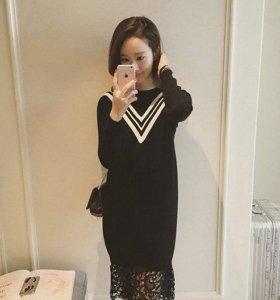 Новое платье вязаное кружево свитер