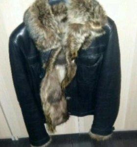 Мужская куртка натуральный мех лайка.