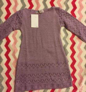 Платье новое с пояском, размер 104-110