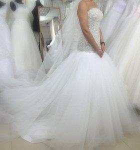 Свадебное платье со шлейфом Туфли 38р.в подарок🎁