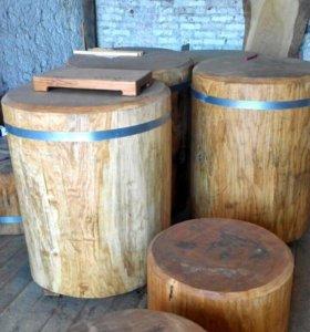 Столы колоды мебель из слэйбов.