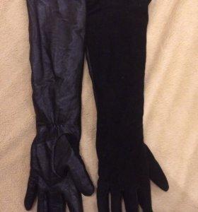 Перчатки натуральная кожа с замшей носила с шубой