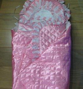 Набор одеяло конверт на выписку девочки