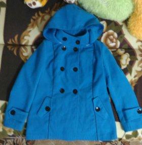 Пальто женское синее с капюшоном