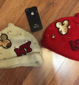 Стильные тепленькие шапочки+ хомут. Новые.