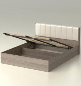Кровать Кожа спинка 160 с ящиком