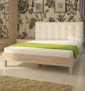 Кровать Энджи 160 ель с белой кожа спинкой
