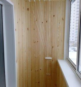 Отделка балконов. Установка шкафчиков.