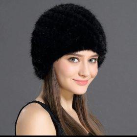 новая зимняя шапка с натуральным мехом кролика