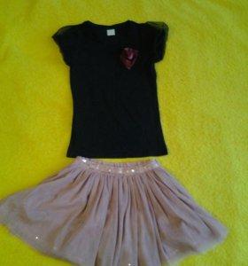 Футболка и юбка на девочку