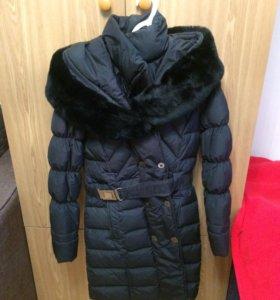 Пальто зима с мехом кролика