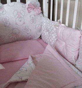 Комплект в кроватку mr.teddy (pink)