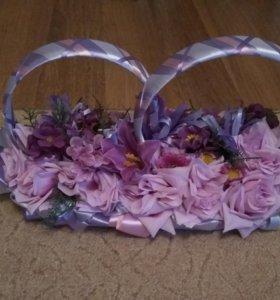 Свадебные украшения на автомобиль (фиолетовые)