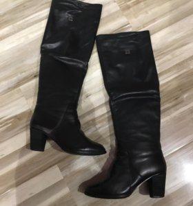 Натуральные кожаные сапоги, зима, р-р 38.