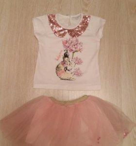 Костюм юбка, футболка miss rose 1год