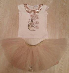 Комплект юбка, футболка miss rose 3 года