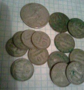 Монеты серебро 56 шт. 40 р. - грамм.