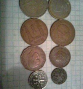 Монеты иностранные -44 ш.т.