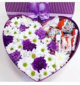 Сладко -цветочная Коробчка / цветы в коробочке