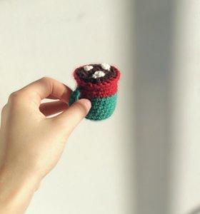 какао с зефирками (вязаная игрушка)