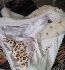 Куртка с натуральным мехом, песец, кролик
