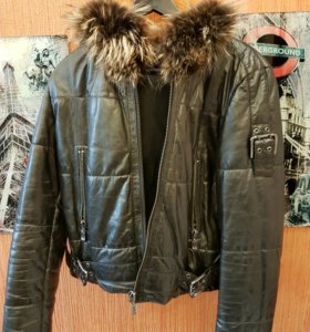 Новая зимняя кожаная куртка с мехом