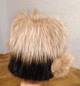 Норковая шапка с мехом лисы новая