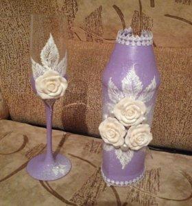 Продам, свадебный набор: бокалы и чехлы на бутылки