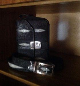 Новая мужская сумка из ската,ремень